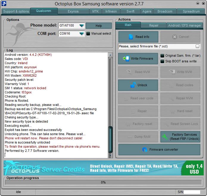 فتح تشفير الشبكة Samsung GT-N7100 On Octopus